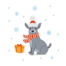 Cute Cartoon Dog In Santa Xmas...