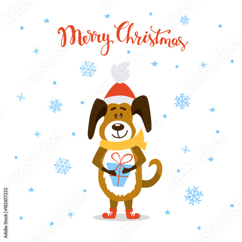 merry christmas happy new year 2018 cute funny cartoon dog standing with present