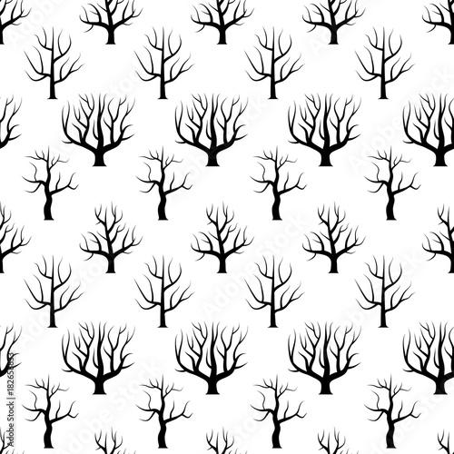 bez-szwu-czarno-biale-zakrzywione-drzewa-bez