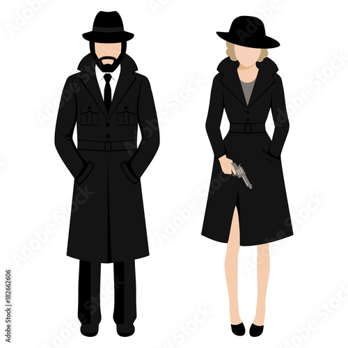Vector illustration of a detective spy man and woman character Canvas-taulu