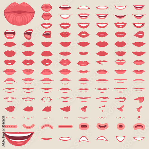 Fotografie, Obraz vector illustration of a kiss, red lips isolated, smile male and female mouth,