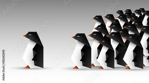 stado pingwinów origami Canvas Print