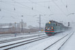 The freight train is going to heavy snow