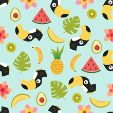 Pattern With Toucan And Tropic...