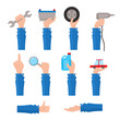 Set of auto service, maintenance icons with hand holding tools, pointing up, showing thumb up, flat vector illustration isolated on white background. Set of flat auto service, maintenance icons
