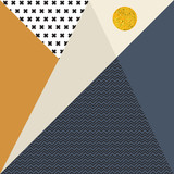 Streszczenie tło geometryczne z trójkątów, krzyży, zygzaków i złote koło. - 182668001