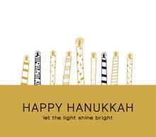 Hanukkah Greeting Card , Jewish Holiday Symbols. Golden Hanukkah Menora And Candles