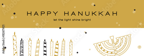 Leinwand Poster Hanukkah greeting banner , Jewish holiday symbols