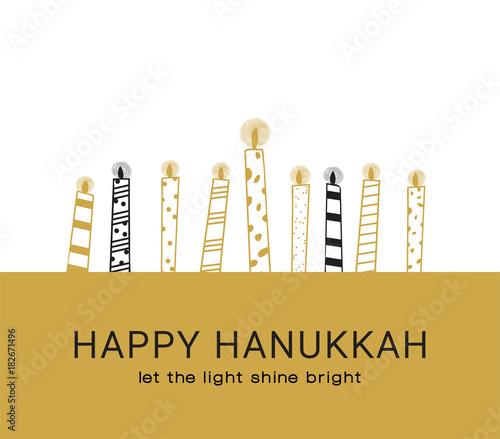 Hanukkah greeting card , Jewish holiday symbols Fototapete