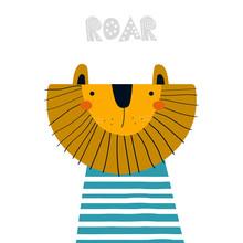 Funny Cartoon Lion. Cool Kids ...