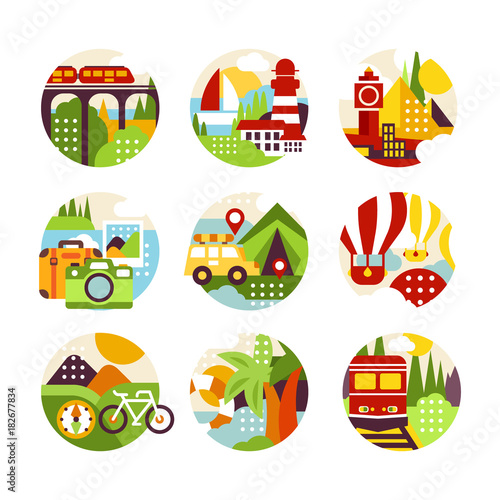 Collection of flat natural circle logo with landscape, city veiw and
