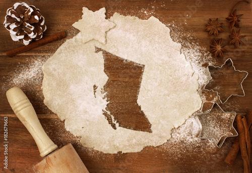 Fototapeta Cookie dough cut as the shape of British Columbia (series) obraz
