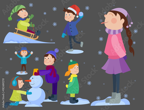 christmas kids playing winter games cartoon new year winter holiday background vector illustration