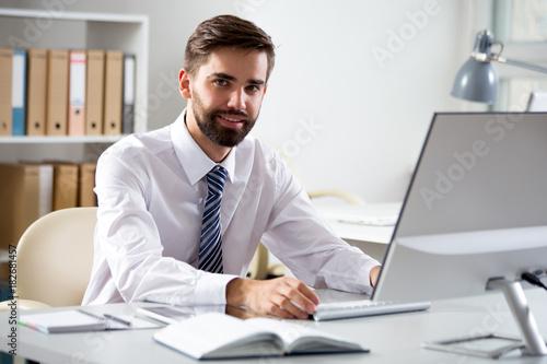 Garden Poster Businessman working in an office