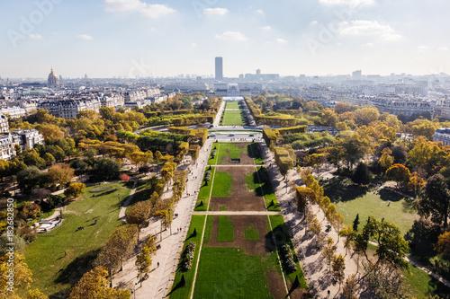 Papiers peints Paris Aerial view on Paris city and Field of Mars