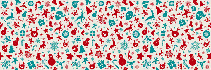 Christmas banner with seamless background. Vector.