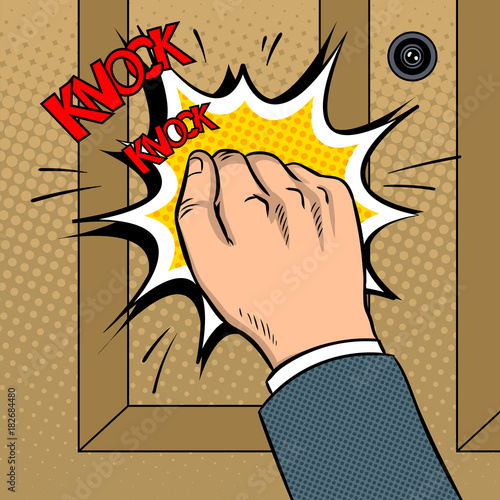 Carta da parati Hand knokning door pop art vector illustration