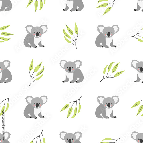 Tela  Seamless pattern with cute koala bears. Vector background.