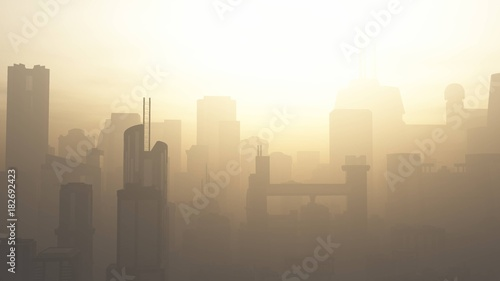 Fototapety, obrazy: Post Apocalyptic Heavily Air Polluted Smoggy Metropolis