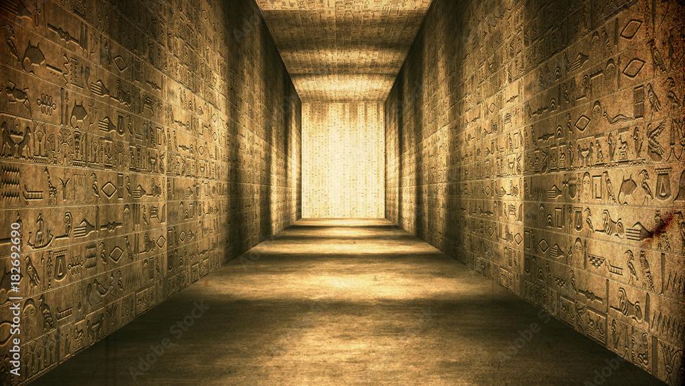 Fototapety, obrazy: Egyptian Tunnel Hieroglyphs Corridor Vintage