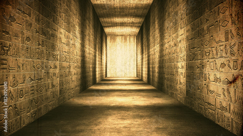 Photo Egyptian Tunnel Hieroglyphs Corridor Vintage