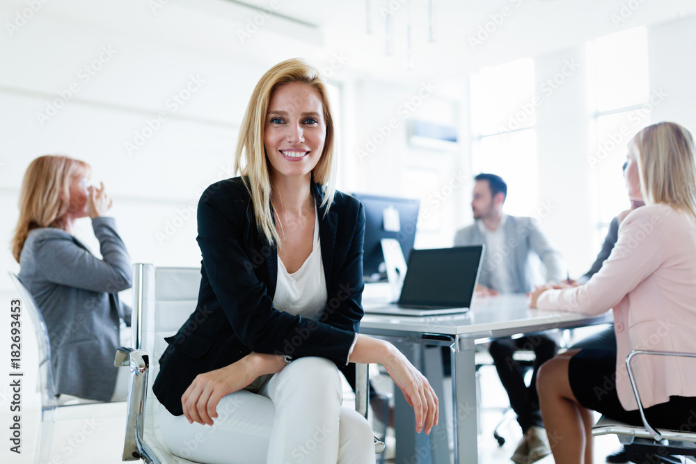Fototapeta Picture of attractive saleswoman on meeting in office