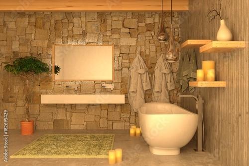 Vasca Da Bagno Romantica Con Candele : Bagno con calcestruzzo e candele per atmosfera romantica buy this