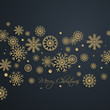 Abstract golden Merry Christmas background with snowflakes