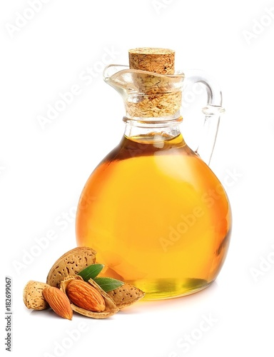 Almonds oil isolated .