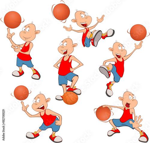 Papiers peints Chambre bébé Illustration of Cute Little Boys. Basketball players