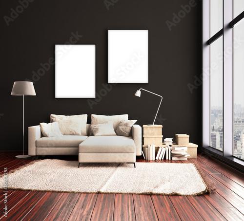 Wohnzimmereinrichtung Im Hochhaus Buy This Stock Illustration And