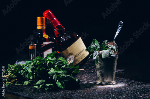 Valokuva  Cold Refreshing Classic Mint Julep with Mint and Bourbon