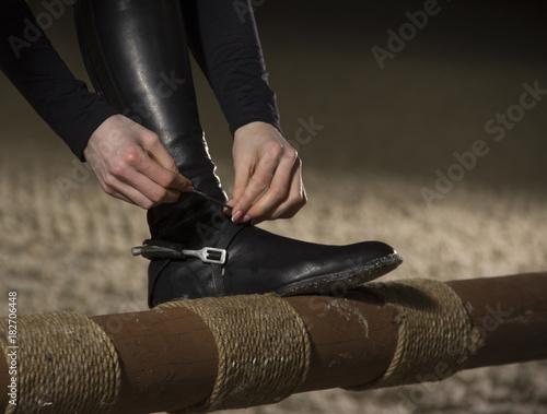 Poster Equitation Close up of jockey preparing for the horseback riding.Equestrian sport