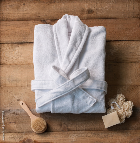 bathrobe bath soap and loofah brush Canvas Print