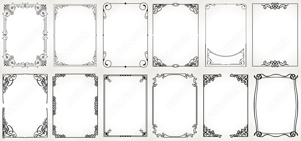 Fototapeta Big set Template of Decorative vintage frames,borders rectangular shape. Old backgrounds .