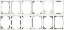 Big Set Template Of Decorative Vintage Frames,borders Rectangular Shape. Old Backgrounds .