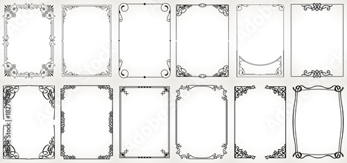 Photo Big set Template of Decorative vintage frames,borders rectangular shape