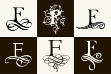 Vintage Set . Capital Letter F For Monograms And Logos. Beautiful Filigree Font. Victorian Style.