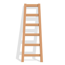 Realistic Wooden Ladder On A W...