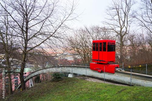 Red funicular to Mrazovka park in Prague, Czech Republic