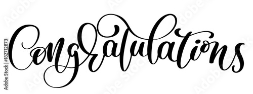 Vászonkép Congratulations Hand lettering Calligraphic greeting inscription