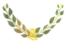 Water Colour Floral Wreath Painting With Yellow Rose