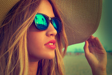 Blond Teen Girl Sunglasses And...