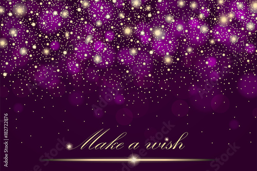 Vector gold glitter particles background effect for luxury greeting rich card. Sparkling texture. Star dust sparks in explosion on purple background. Vector illustration