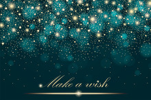 Vector Gold Glitter Particles Background Effect For Luxury Greeting Rich Card. Sparkling Texture. Star Dust Sparks In Explosion On Turquoise Background. Vector Illustration