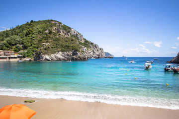 Beach in Paleokastritsa in Corfu island, Greece