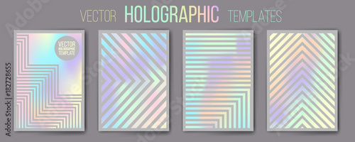 Photo  Set of vector holographic gradient templates - shiny and mat
