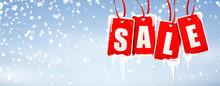 Sale Etiketten Vereist Mit Eiszapfen Und Schneefall Hintergrund