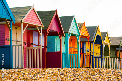 Poster Afrique du Sud brightly coloured beach huts