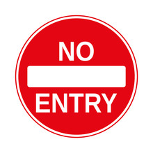 No Entry Traffic Sign, Isolated On The White, Illustration Vector